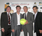L to R: David Morrison (Division 1 - Councillor for Ipswich City Council and Chairperson of Parks, Sports & Recreation), Todd Woodbridge (Australian Davis Cup coach), Mal Anderson (Davis Cup Winner & 2000 International Tennis Hall of Fame Inductee) and Umit Oraloglu (Founder of the Gallipoli Youth Cup)