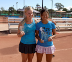 (L to R) 2011 Girls Runner Up, Brigitte Beck and Girls Winner Nao Hibino (Japan) holding their trophies